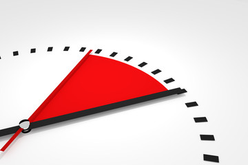 clock with red seconds hand area time remaining illustration