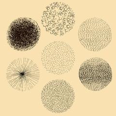 Grunge halftone hand drawn textures set