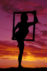 silhouette woman upper body in frame