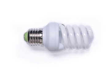 Fluorescent light bulb isolated on a white background