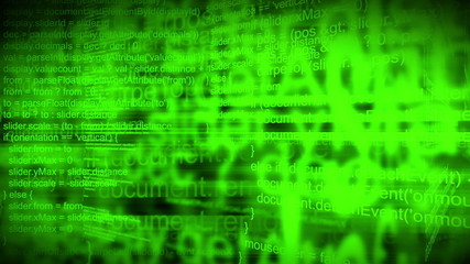 Animated 3D Computer Programming Script Code as Tech Background