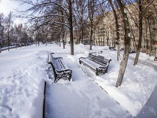 Pushkino, Russia. Winter city landscape of fisheye view