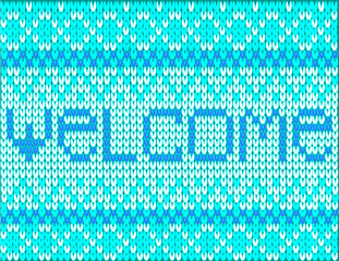 baby blue sweater with welcome text