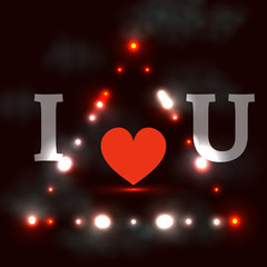 I love you, dark background with shining lights