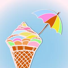 bright postcard with ice cream