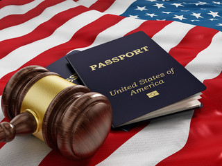 Gavel and passport on American flag