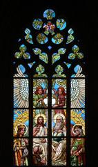 Holy Trinity. Art Nouveau stained glass window.