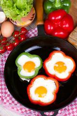 Eggs fried in a pepper