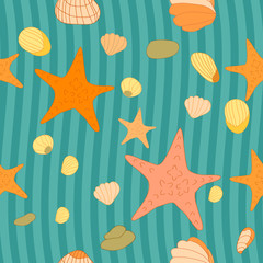 sea pattern with starfish for design and wallpaper