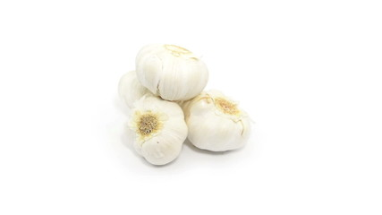 garlic  rotate on white background