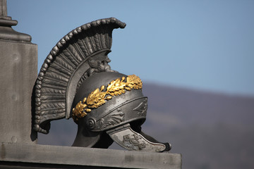 Ancient Roman helmet. Memorial the Battle of Kulm.