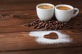 Fototapety espresso coffee with sugar powdered heart