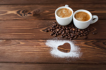 espresso coffee with sugar powdered heart
