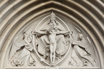 The Holy Trinity. Gothic relief in Saint Wenceslas Cathedral in