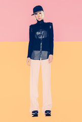 high fashion look. Girl in fashionable clothes. Vanilla Urban st