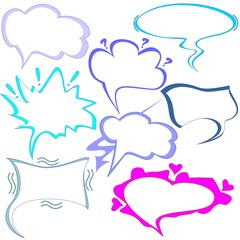 Vector set of clouds of thoughts and talking for Comics