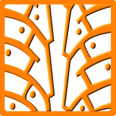 orange icon with pattern of studded tires