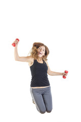 weight loss fitness female model in jump flexing
