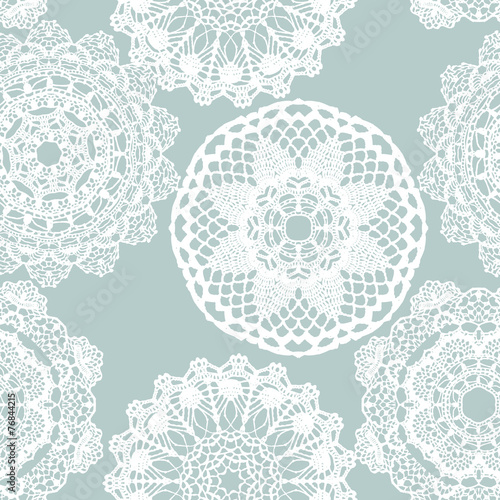 Lace white seamless mesh pattern. - 76844215