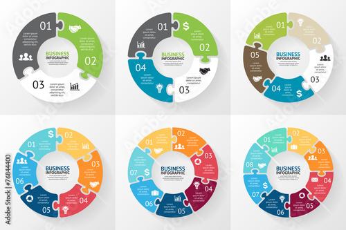 Circle puzzle infographic. Diagram, graph, presentation.