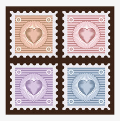 Old stamps with the image of the heart