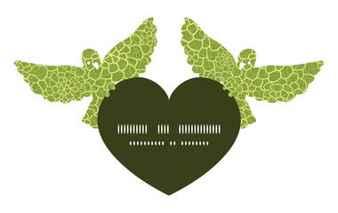Vector abstract green natural texture birds holding heart