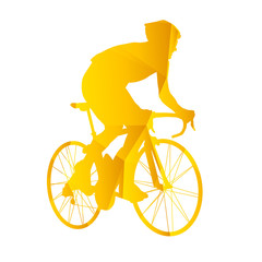 Vector silhouette road cyclists. Geometric silhouette of triangl