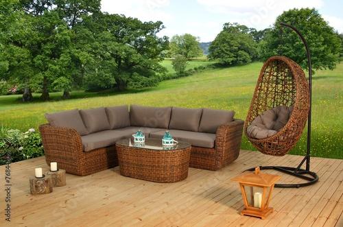 Leinwanddruck Bild Rattan Garden Furniture