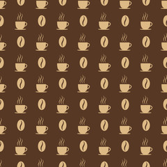 Coffee cups and beans seed. Seamless pattern
