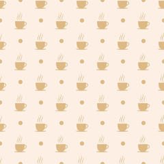 Coffee, tea or hot chocolate cup. Seamless pattern