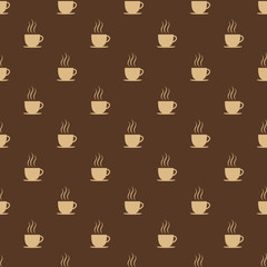 Coffee, tea or hot chocolate cup. Seamless pattern background