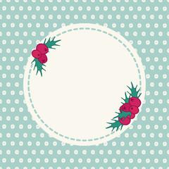 Vintage hand drawn seasonal greeting card with holly berries