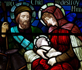 Flight to Egypt in stained glass