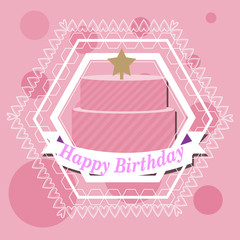 Happybirthday, cake and star illustration over color background