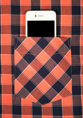 Smartphonewith a black screen in a pocket of shirt