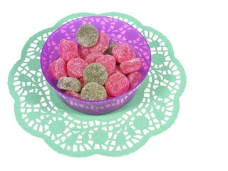 Many sugar candies in an bowl