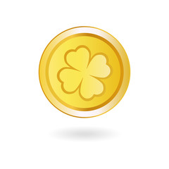 Golden Coin with Irish Shamrock