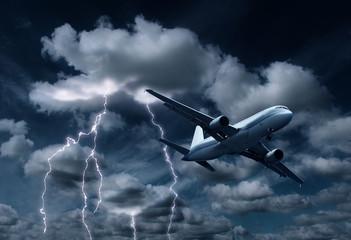 Passenger aeroplane yielding thunderstorm