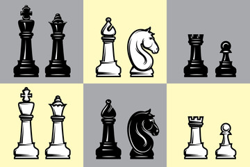 sets of black and white chess with part of the chessboard