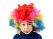 Child with clown wig