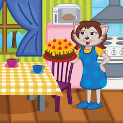 mother cat baked a cake in kitchen - vector illustration, eps