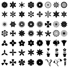 64 flowers icons set
