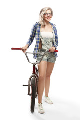 Beautiful blonde with a BMX bike