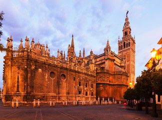 twilight view of  Cathedral of Seville
