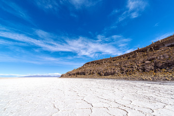 Uyuni Salt Flats and Blue Sky