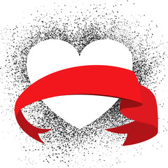 heart on grunge background with red ribbon - vector illustration