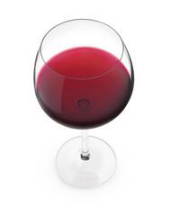 Calice di vino rosso su fondo bianco