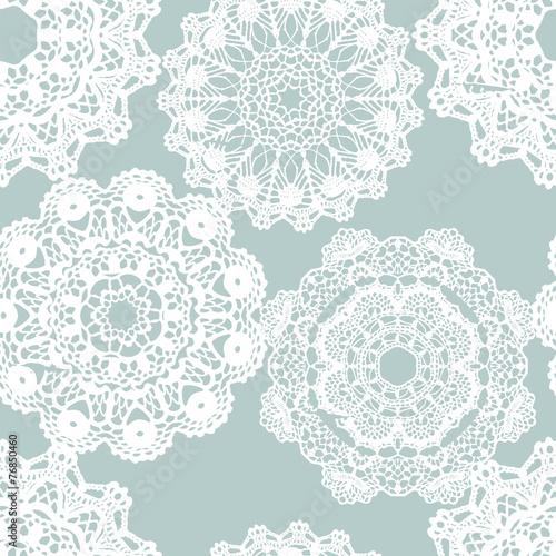 Lace white seamless mesh pattern. - 76850460