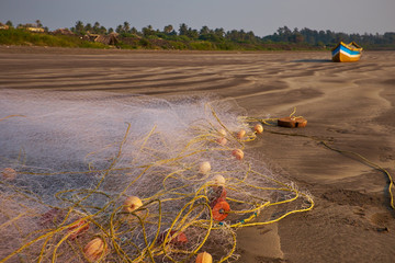 fishing nets on the sand