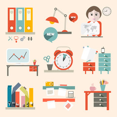 Flat Design UI Office Supply Vector Flat Design Illustration